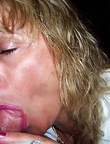 Mature blonde eating a cock