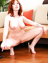 Gorgeous petite red headed cougar slut shows off her sexy little body