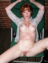 Southern redhead wife spreading outside