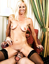 Blonde woman preys on a young stud